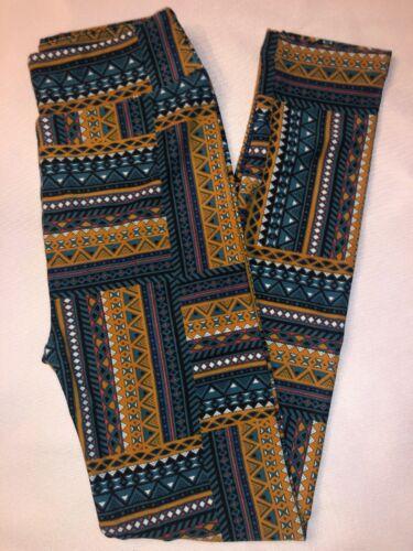 LuLaRoe Kids Leggings L//XL New Green Tan White Aztec Print BoxHH
