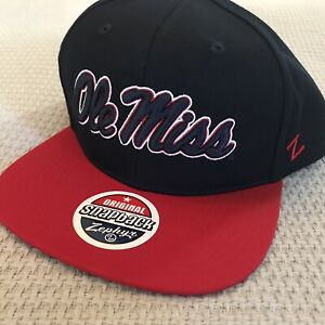 Ole Miss Rebels Snapback Hat Cap One Size Fits Most Mississippi Dark Navy NWT
