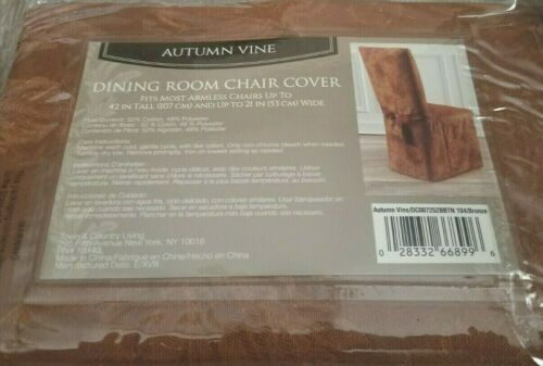 Autumn Vine Damask Fabric Dining Chair Cover in Bronze