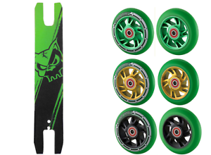 Pair Green Mixed PU 100mm Stunt Scooter Wheels (x2) + Free Green Grip Tape Combo