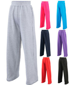 AWDis Kids Open Hem JOG PANTS Soft Cotton-Faced Fabric Joggers in many Colours