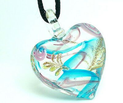 handmade heart glass art beaded Pendant necklace p004