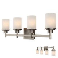 Brushed Nickel 4 Globe Vanity Bath Light Bar Fixture, Etched Glass on sale