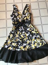 Nine West BLACK-WHITE-YELLOW Floral Dress Fit N Flare Size 8