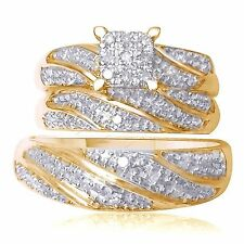 14K Yellow Gold Over Diamond Ring Set Wedding Bridal Band Trio His Her Men Women