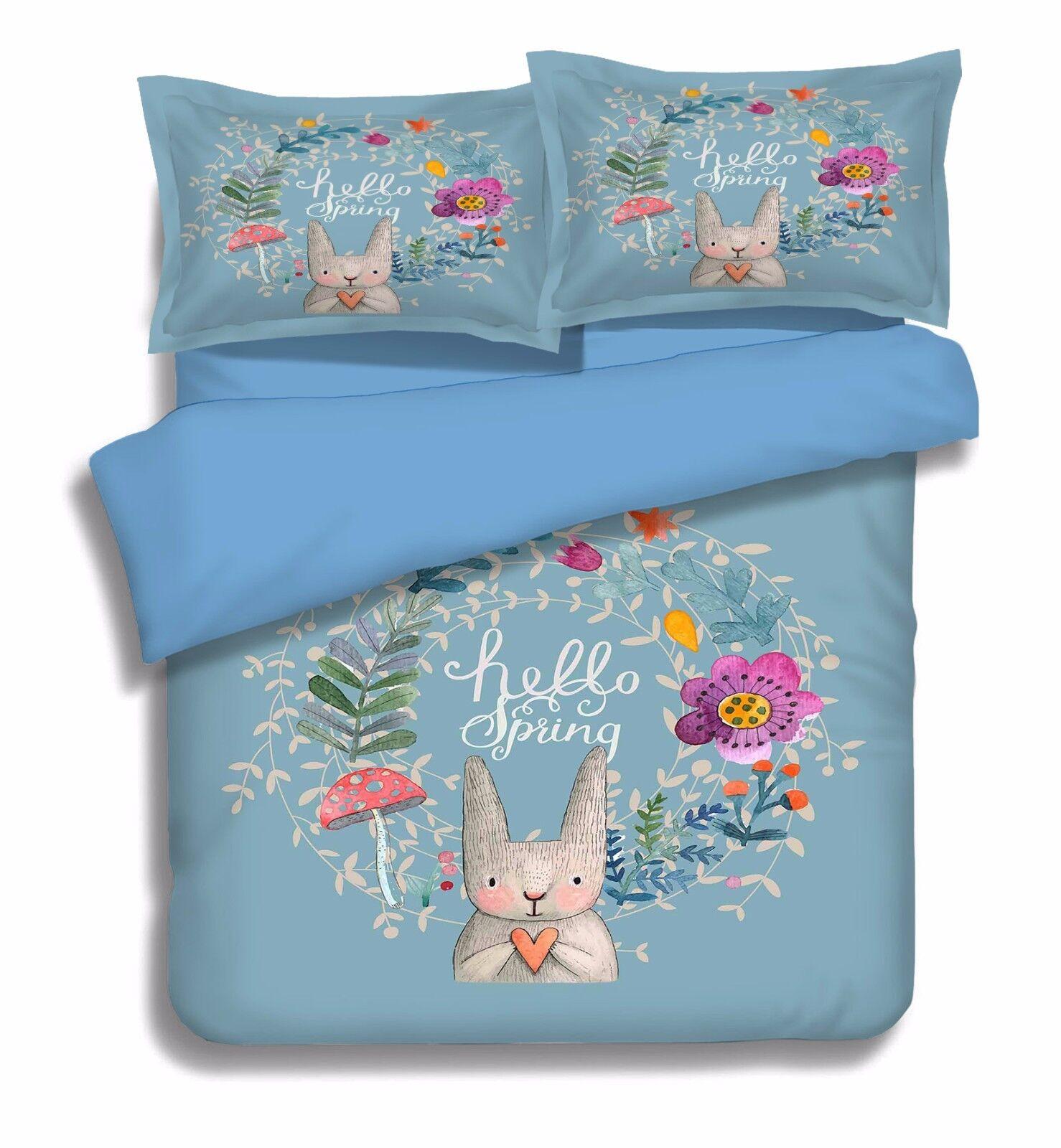 3D Paint Rabbit 908 Bed Pillowcases Quilt Duvet Cover Set Single Queen UK Kyra