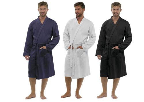Men/'s 100/% Cotton Robe Dressing Gown Soft Waffle Robe Wrap Loungewear HT561