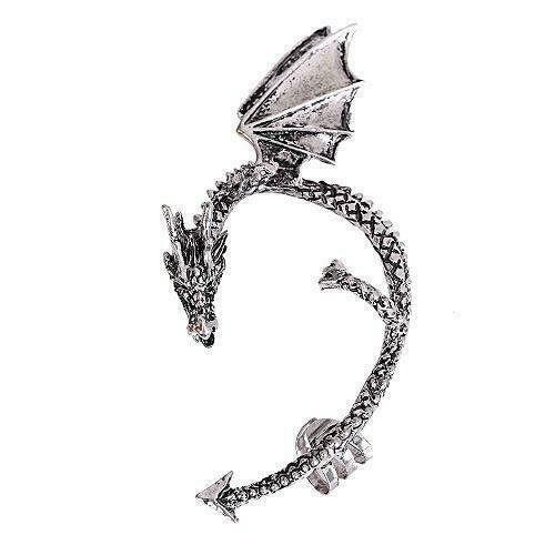 goth fake earring Ear cuff Dragon silver gold great for Game of Thrones Punk