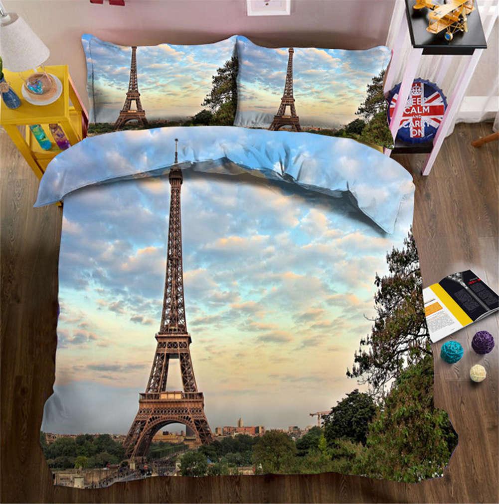 Old Eiffel Tower 3D Druckening Duvet Quilt Will Startseites Pillow Case Bettding Sets