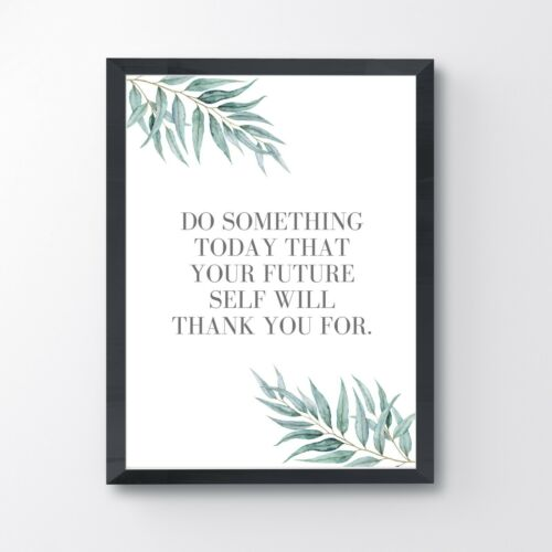 Wall Art Minimalist Home Decor Inspirational Quote Print Eucalyptus Leaves