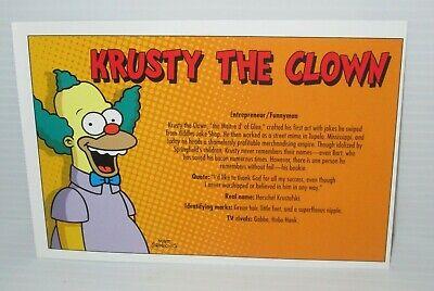 "THE SIMPSONS FOX TV SHOW POSTCARD KRUSTY THE CLOWN 7/""X4.75/"" 2007 MATT GROENING"