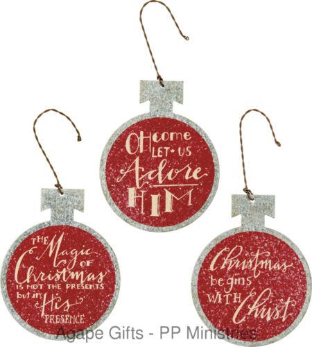 Red /& Silver Tin Bulb Shape Adore Christ 3pc #28991 PBK Christmas Ornament