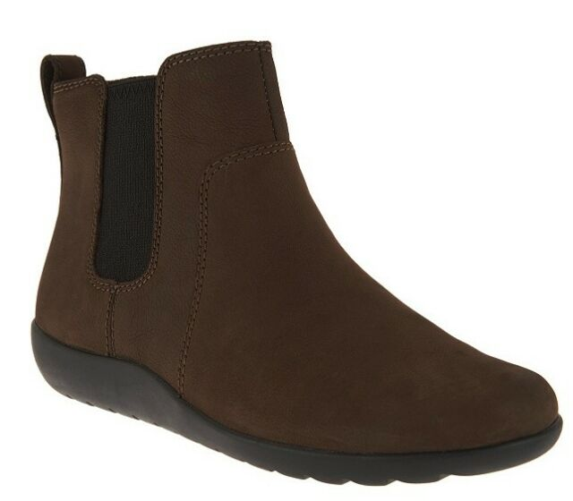 e461236a7618c Clarks Women's Medora Grace Dark Taupe Leather Brown Nubuck Ankle Chelsea  Boots