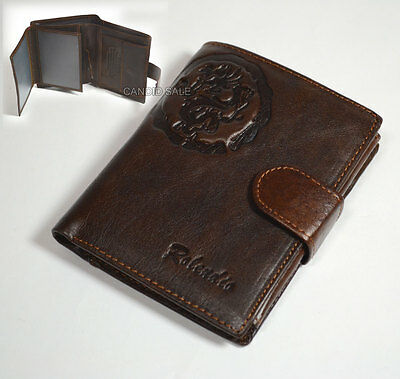 Circle Seal Brown Mens Genuine Cowhide Leather Wallet Bifold Card PURSE