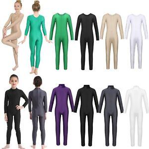 Girls-Kids-Ballet-Dress-Long-Sleeves-Gymnastics-Leotard-Dance-Bodysuit-Costume