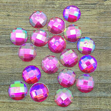 New 50pcs 12mm Resin Round Crystal Faceted Flatback DIY Craft Making Rose AB #5