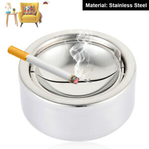 Stainless-Steel-Windproof-Round-Smokeless-Ashtray-Cup-with-Holder-Cigarette-Home