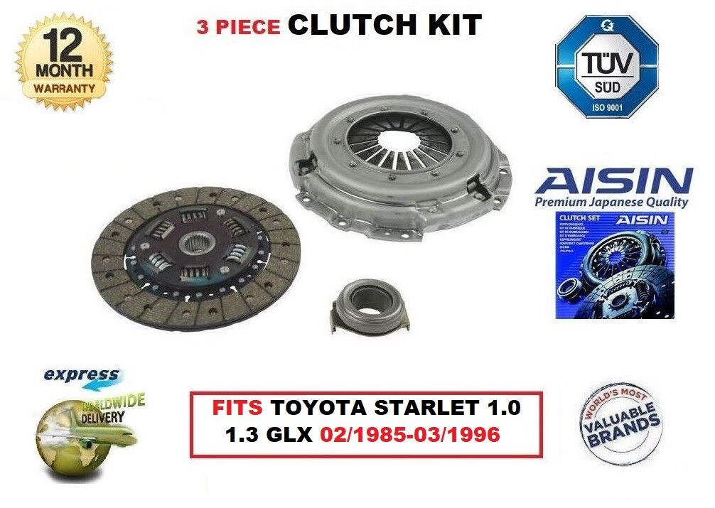 For Toyota  Starlet 1.0 1.3 GLX 02 1985-03 1996 Aisin OE Quality Clutch Kit  hastened to see