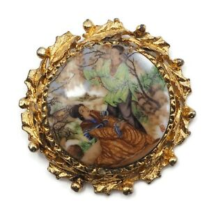 Vintage-Costume-Gold-Tone-Hand-Painted-Round-Porcelain-Fashion-2-Inch-Brooch-Pin