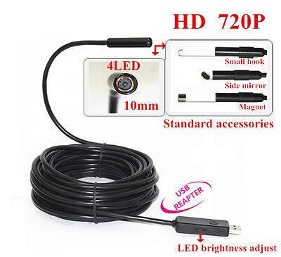 HD 720P USB Video Inspection Endoscope Borescope Tube Camera Waterproof 15M 10mm