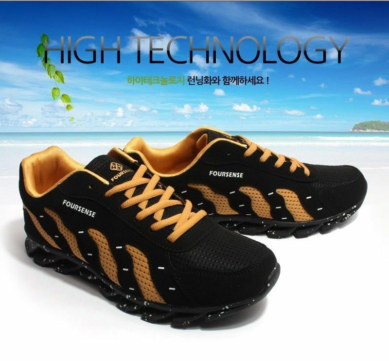 Mens Shoes  Athletic Sneakers Outdoor Fashion Running Shoes Mens Black Gold 2612 v_E 816451