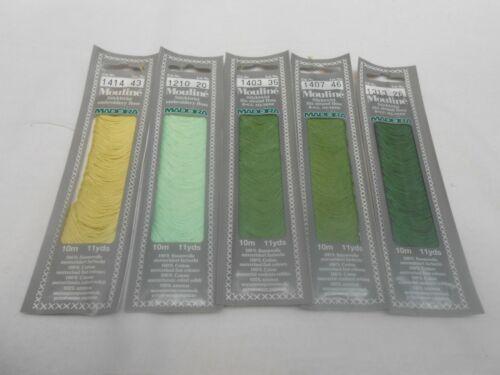 Madeira Mouline Threads Bag of 5 Greens