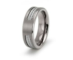 s titanium dual cable inlay engravable wedding band ebay