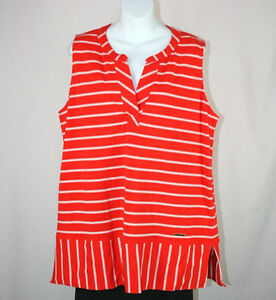 1c7e2e3fd4e Jones New York Signature Orange White Sleeveless Top Blouse - Size ...