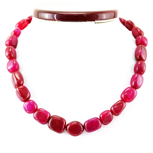 LOWEST PRICE 443.50 CTS EARTH MINED RICH RED RUBY BEADS HAND MADE NECKLACE