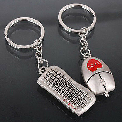 New Fashion 2*pcs Mouse And keyboard Pendant Keyring Keychain Keyfob Lover Gift