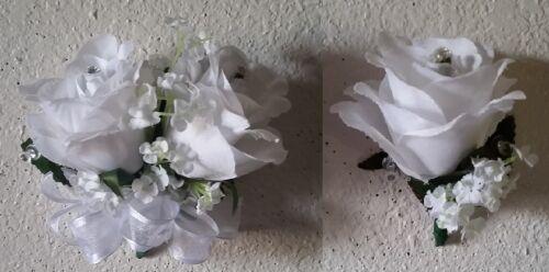 White Rhinestone Rose Corsage /& Boutonniere