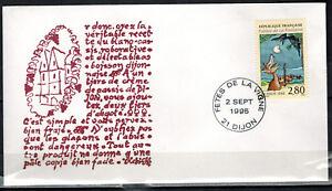 FDC-1-JOUR-1995-Yv-2961-ENVELOPPE-FETES-DE-LA-VIGNE-RECETTE-BLANC-CASSIS-DIJON