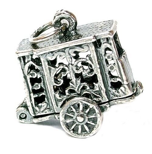 VINTAGE SILVER OPENING PUNCH & JUDY TRAILER CHARM