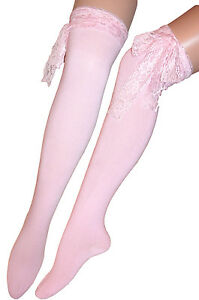 3c9a2fb2b Ladies Long Lace Pink Over Knee   Knee High Socks Fancy Dressing ...