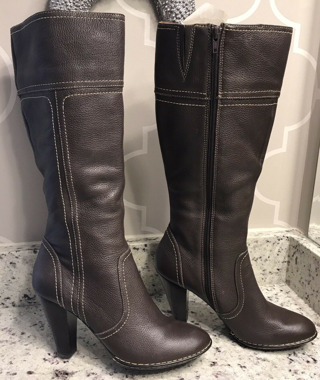 Sofft Women's Brown Leather High Heeled Boots - Size 10M