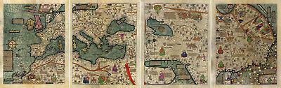 Carte Abraham Cresques catalan Atlas Monde Carte murale 1375 Poster  mapamondi | eBay