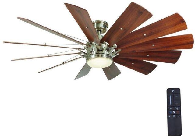 Large designed 60 in led indoor brushed nickel ceiling fan with 60 in large led ceiling fan brushed nickel 12 windmill blade home decorators new aloadofball Images