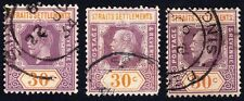 STRAITS SETTLEMENTS 1923 KG5 30c wmk.MSCA Isc#211a x3 USED @S1567