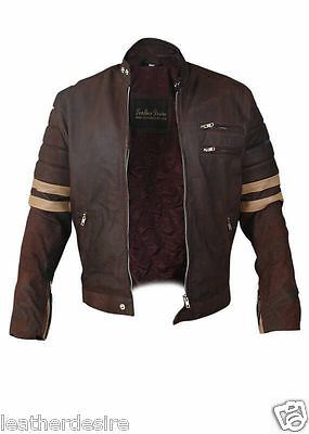 Men's Stylish Retro Fashion Cowhide Brown Leather Jacket with Stripes - BNWT