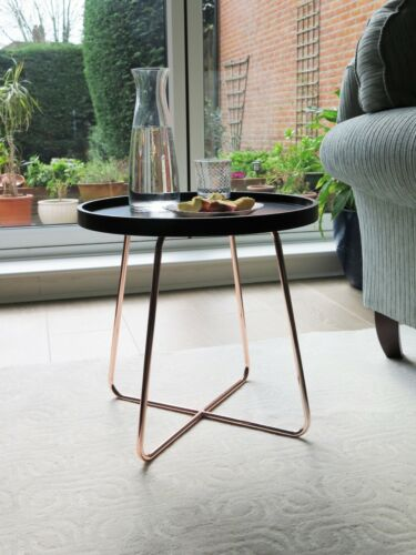 -ST66BK//CP Sasha Wooden Tray//Round Side End Table Black Top//Copper Frame