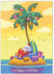 image is loading hawaiian christmas card aloha santa surfer island getaway - Hawaiian Christmas Cards