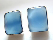 Chalcedony Stud Earrings Rectangle 925 Sterling Silver New 5ct