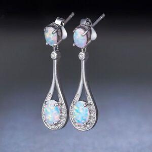 Fashion-925-Silver-Women-Jewelry-Opal-Wedding-Party-Dangle-Drop-Earrings