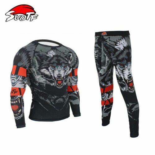 Boxing Compression Jersey /& Pants 3D Wolf Printing Rashguard KickBoxing Tight