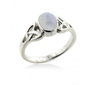 Sterling Silver Celtic Knot and Genuine Rainbow Moonstone ...