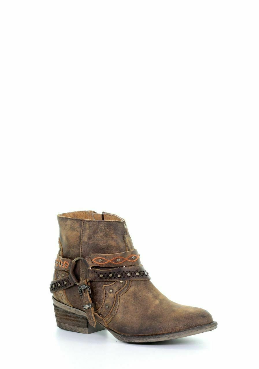 Corral Women's Western Cowboy Brown Studded Harnesss Ankle Boots Q0094