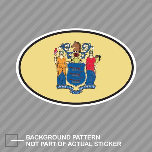 New Jersey State Flag Oval Sticker Decal Vinyl V4 NJ