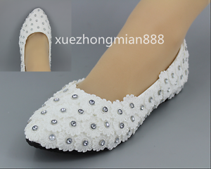 beautiful White Wedding shoes Lace Rhinestones Bridal flats low high heel pump
