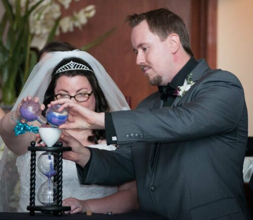 The Wedding Day in Black Unity Sand Ceremony Hourglass by Heirloom Hourglass