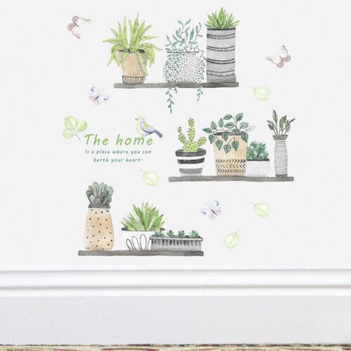 garden plant bonsai flower butterfly wall stickers home decor room kitchen FG